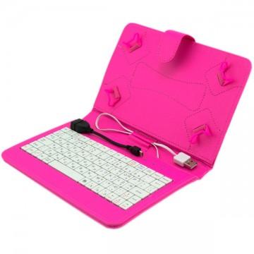 Чехол-клавиатура 7 дюймов USB +OTG Micro USB малиновый в Одессе