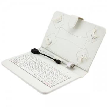 Чехол-клавиатура 7 дюймов USB + OTG Micro USB белый в Одессе