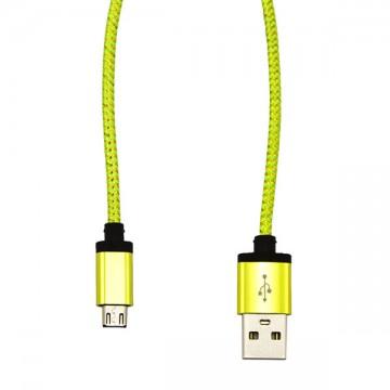 USB - Micro USB кабель UCA-424 металл-ткань 1m салатовый в Одессе