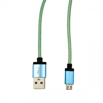 USB - Micro USB кабель UCA-424 металл-ткань 1m голубой в Одессе