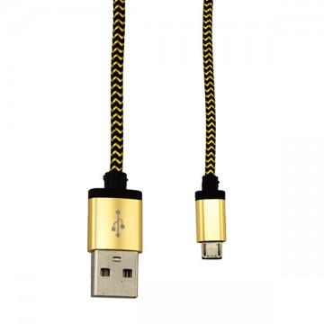 USB - Micro USB кабель UCA-424 металл-ткань 1m черно-золотистый в Одессе