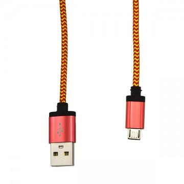 USB - Micro USB кабель UCA-424 металл-ткань 1m красный в Одессе