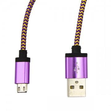 USB - Micro USB кабель UCA-424 металл-ткань 1m фиолетовый в Одессе