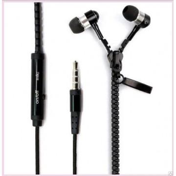 Наушники с микрофоном змейка Zipper Earphones черные в Одессе
