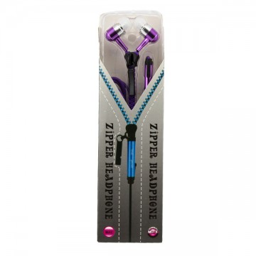 Наушники с микрофоном змейка Zipper Earphones фиолетовые в Одессе