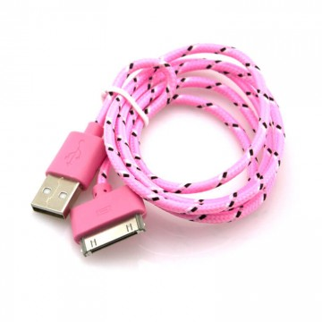 USB кабель iPhone 4S тканевый 1m розовый в Одессе
