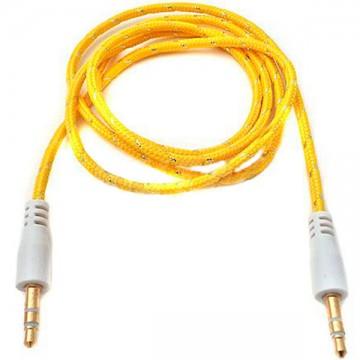 AUX кабель 3.5 M/M тканевый 1 метр желтый в Одессе