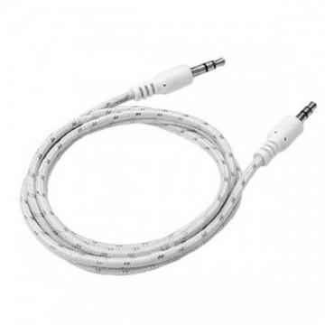 AUX кабель 3.5 M/M тканевый 1 метр белый в Одессе