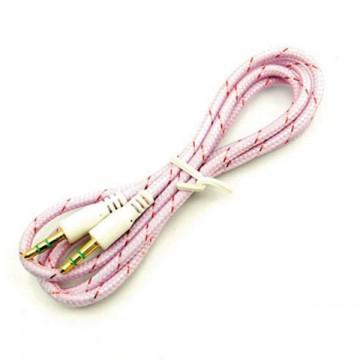 AUX кабель 3.5 M/M тканевый 1 метр розовый в Одессе