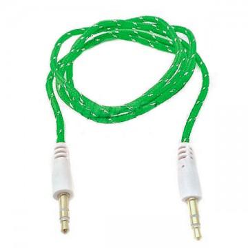AUX кабель 3.5 M/M тканевый 1 метр зеленый в Одессе