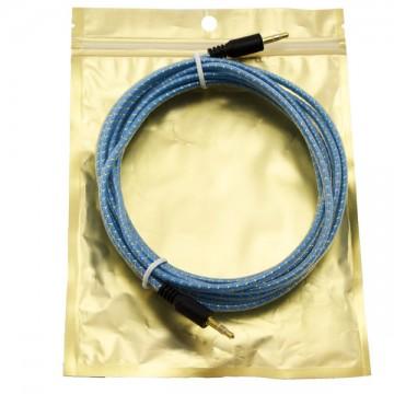 AUX кабель 3.5 M/M тканевый с силиконовым покрытием 3 метра синий в Одессе