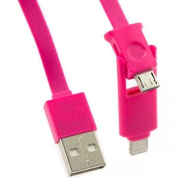 USB -Lightning шнур для iPhone 5/5s + micro USB 1m розовый в Одессе