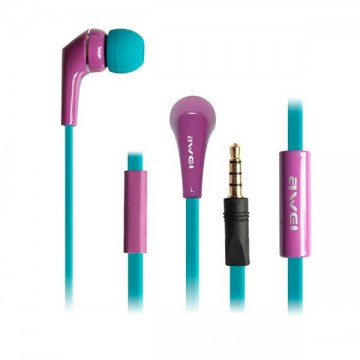 Наушники с микрофоном AWEI ES-Q7i фиолетовые в Одессе