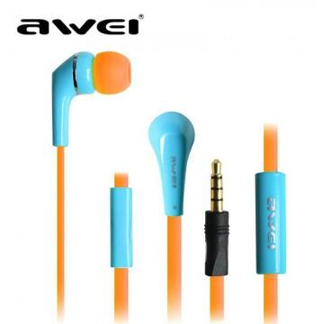 Наушники с микрофоном AWEI ES-Q7i голубые в Одессе