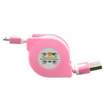 USB-Micro USB шнур рулетка 1m розовый  в Одессе