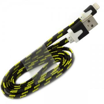 USB кабель Lightning iPhone 5S плоский тканевый 1m черный в Одессе