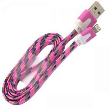 USB кабель Lightning iPhone 5S плоский тканевый 1m розовый в Одессе