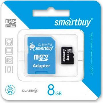 Micro SD 8GB 10 Class SmartBuy + SD adapter (SB8GBSDCL10-01) в Одессе