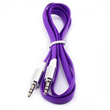 AUX кабель 3.5 плоский c металлическим штекером 1 метр фиолетовый в Одессе