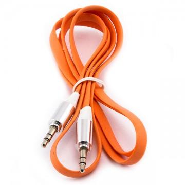 AUX кабель 3.5 плоский c металлическим штекером 1 метр оранжевый в Одессе