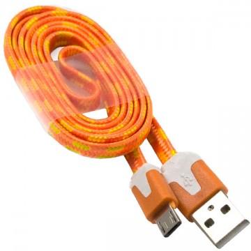 USB кабель Micro плоский тканевый 1m оранжевый в Одессе