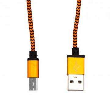 USB кабель Micro тканевый 1003 1m оранжевый в Одессе