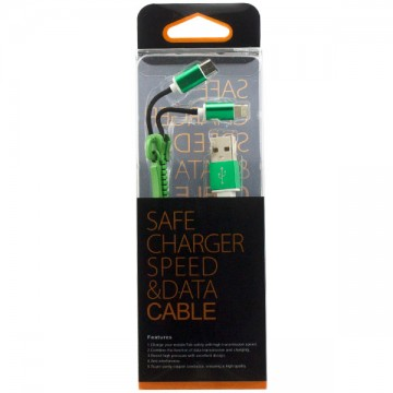 USB шнур Zipper Lightning and Micro USB original charger 1m зеленый в Одессе