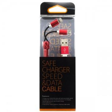 USB шнур Zipper Lightning and Micro USB original charger 1m красный в Одессе
