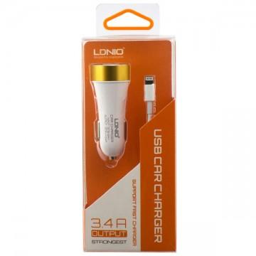 Автомобильное зарядное устройство LDNIO DL-C30 2USB 3.4A Lightning white в Одессе