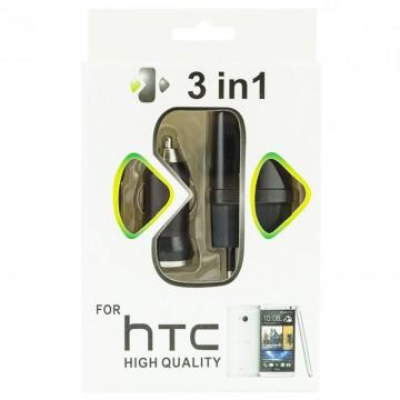 Сетевое+автомобильное зарядное устройство HTC 3in1 1USB 1.0A micro-USB black в Одессе