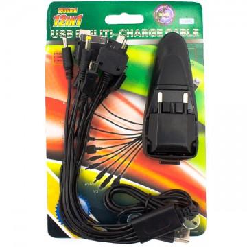 Сетевое+автомобильное зарядное устройство UNT-168c 1USB 1.0A универсальный шнур 12in1 black в Одессе