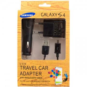 Сетевое+автомобильное зарядное устройство Galaxy S4 3in1 1USB 1.0A micro-USB black в Одессе