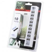USB Hub 10 PORT + USB Type B шнур + adapter white