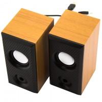 Колонки для компьютера Hi-Fi M-006 черно-деревянные