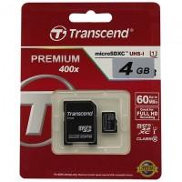 Карта памяти micro SD Transcend 4GB class 10 + SD adapter