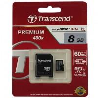 Карта памяти micro SD Transcend 8GB class 10 + SD adapter