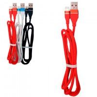 Кабель USB - Lightning (ткань однотонный) 1m красный