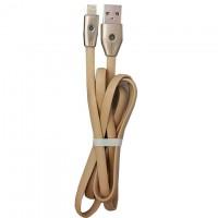 Кабель USB - Lightning (плоский шнур LED) 1m серый