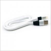 Кабель USB - Lightning (плоский шнур) 1m белый