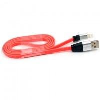 Кабель USB - Lightning (плоский шнур) 1m красный