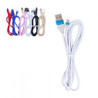 Кабель USB - Micro (ткань однотонный) 1m белый
