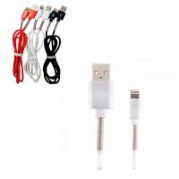 Кабель USB - Lightning (пружина металл) 1m белый