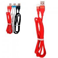 Кабель USB - Micro (ткань однотонный) 1m красный