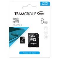 Карта памяти micro SD Team 8Gb class 10 + SD adapter