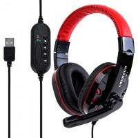 Наушники для ПК с микрофоном USB Sound Card CY-519 красные