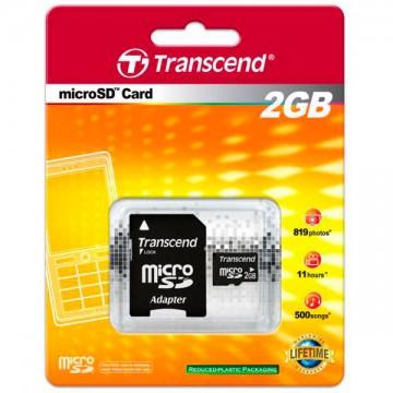 Карта памяти MicroSD Transcend 2GB + SD adapter (TS2GUSDC4) в Одессе