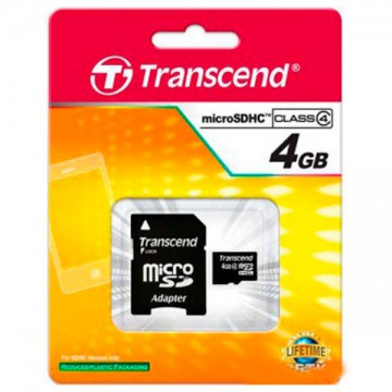 Карта памяти MicroSD Transcend 4GB + SD adapter (TS4GUSDC4) в Одессе