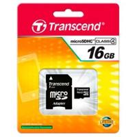 Карта памяти MicroSD Transcend 16GB + SD adapter (TS16GUSDC4)