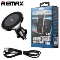 Держатель для телефона магнитный Remax RM-C41 с беспроводным зарядным устройством черный