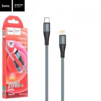 USB кабель Hoco DU02 Max PD Type-C - Lightning 1m серый